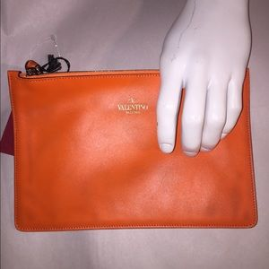 NWT auth VALENTINO medium NEON ORANGE zip pouch